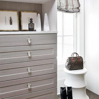Gray Closet Cabinets, Transitional, closet, Atlanta Homes & Lifestyles