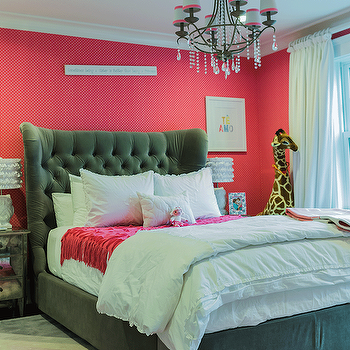 Gray Velvet Tufted Bed, Contemporary, girl's room, Brookes and Hill Custom Builders
