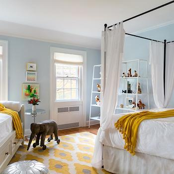 Yellow and Blue Kids Rooms, Transitional, girl's room, Chango & Co.