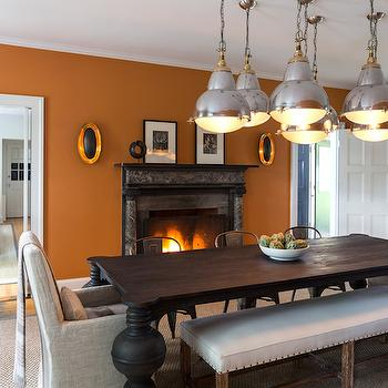 Orange Dining Rooms, Eclectic, dining room, Chango & Co.
