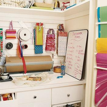 Wrapping Paper Station in Closet, Transitional, den/library/office, Domino Magazine