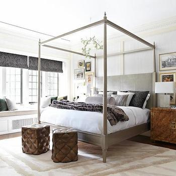 Gray Canopy Bed, Transitional, bedroom, Kelly Sutton