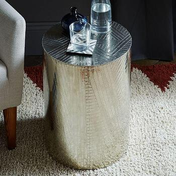 Etched Metal Side Table, Silver I West Elm