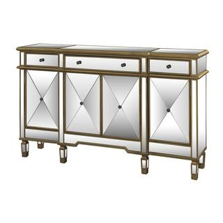 Powell Gold and Mirrored 3-drawer 4-door Console , Overstock.com