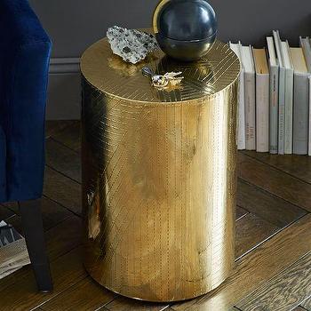 Etched Metal Side Table, Brass I West Elm