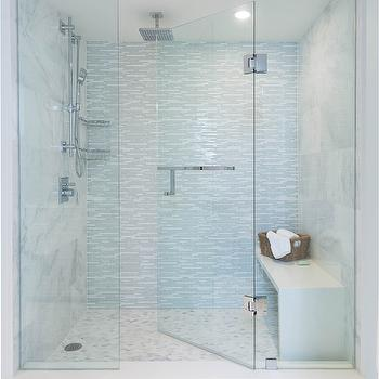 Gray and white bathroom with seamless glass shower partition framing a - Blue Glass Shower Design Decor Photos Pictures Ideas