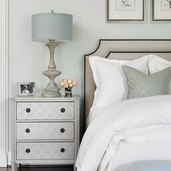 Gray Nightstand, Transitional, bedroom, Farrow and Ball pale powder, Lebey LTD Interiors
