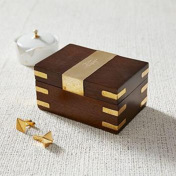 Wood + Brass Cufflink Box I West Elm