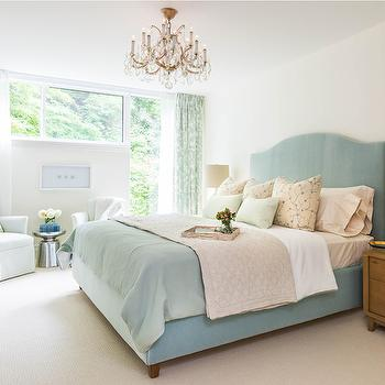 Duck Egg Blue Bed, Transitional, bedroom, Rebecca Hay Interior Design