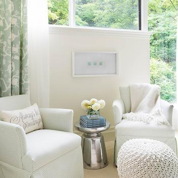 Schumacher Shantung Silhouette Print Fabric in Mineral, Transitional, bedroom, Rebecca Hay Interior Design