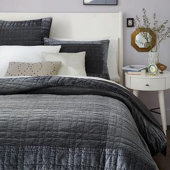 Bordered Velvet Quilt + Shams, Slate I West Elm