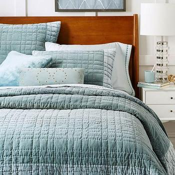 Bordered Velvet Quilt + Shams, Blue Stone I West Elm