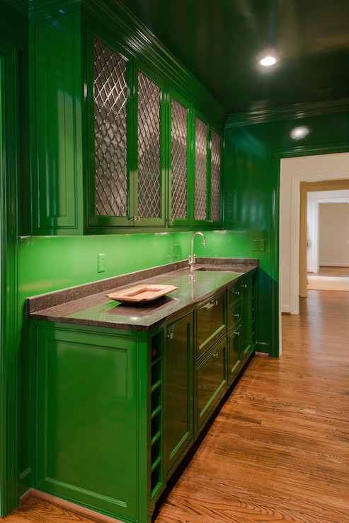 lovely emerald green kitchen cabinets | Green Kitchen Cabinets - Contemporary - kitchen - Porters ...