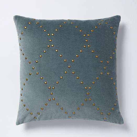 Studded Velvet Ogee Pillow Cover Blue Stone I West Elm