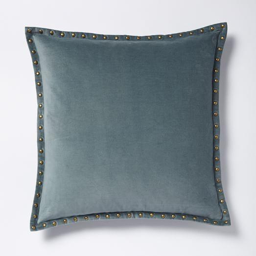 Studded Velvet Pillow Cover Blue Stone I West Elm
