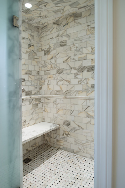 Shower With Calcutta Gold Marble Transitional Bathroom