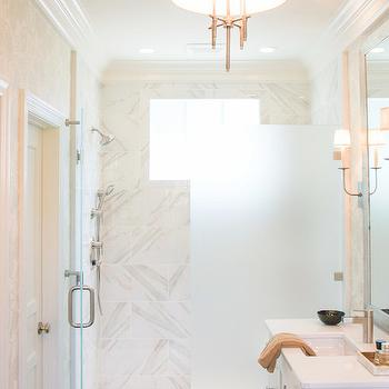 Frosted Glass Shower Partition, Transitional, bathroom, The Wills Company