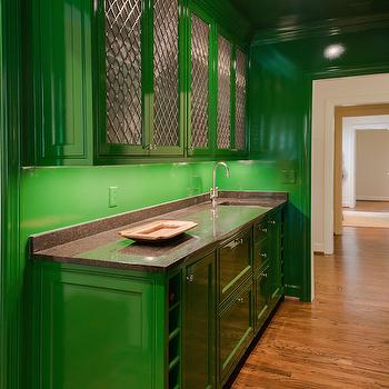 Green Kitchen Cabinets, Contemporary, kitchen, Porters Paint Belle Meade Green, The Wills Company