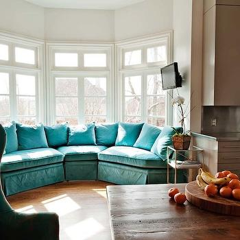 Turquoise Sectional Sofa, Eclectic, kitchen, The Wills Company