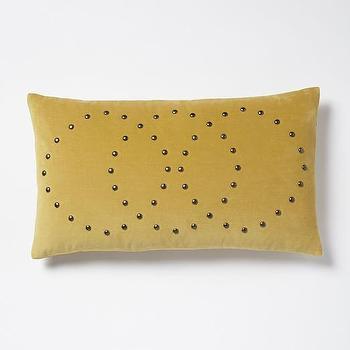 Studded Velvet Rings Pillow Cover, Horseradish I West Elm