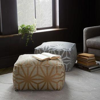 Star Printed Cotton Dhurrie Pouf I West Elm
