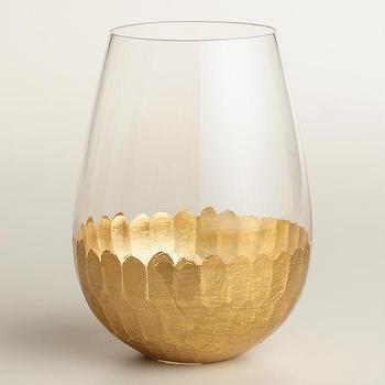 Gold Stemless Wine Glasses, Set of 4 I World Market