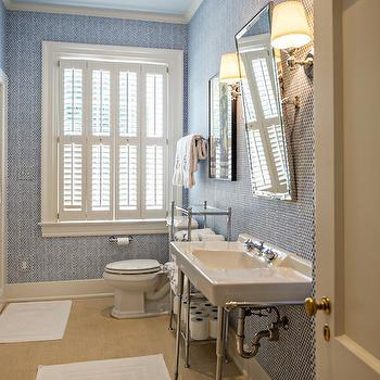 White and Blue Kids Bathroom, Transitional, bathroom, The Wills Company