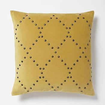 Studded Velvet Ogee Pillow Cover, Horseradish I West Elm