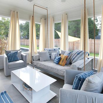 Hanging Sofa, Transitional, Deck/patio, Blue Water Home Builders
