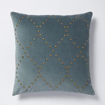 Studded Velvet Ogee Pillow Cover, Blue Stone I West Elm
