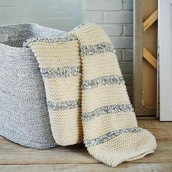 Knitted Sequins Throw, Ivory I West Elm