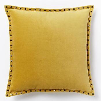 Studded Velvet Pillow Cover, Horseradish I West Elm