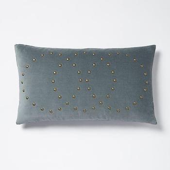 Studded Velvet Rings Pillow Cover, Blue Stone I West Elm
