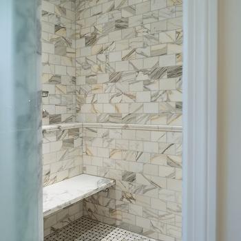 Shower with Calcutta Gold Marble, Transitional, bathroom, The Wills Company