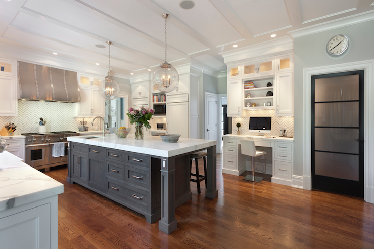 Built in kitchen desk transitional kitchen blue for Kitchen designs with islands and pantry