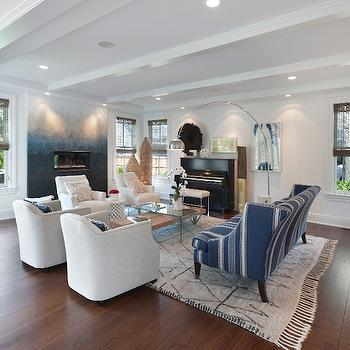 Blue Stripe Sofa, Eclectic, Living Room, Blue Water Home Builders