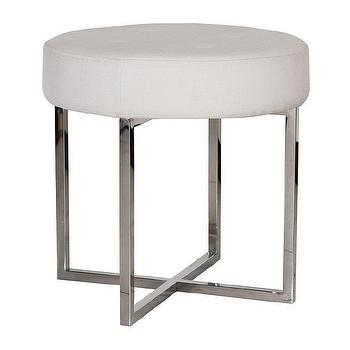 Worlds Away Melanie White Linen and Nickel Stool I Zinc Door