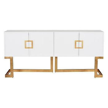 Worlds Away Braxton White Lacquer and Gold Leaf Media Console I Zinc Door
