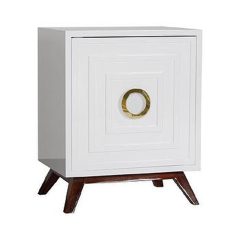 Worlds Away Cooper White Lacquer and Brass Nightstand I Zinc Door