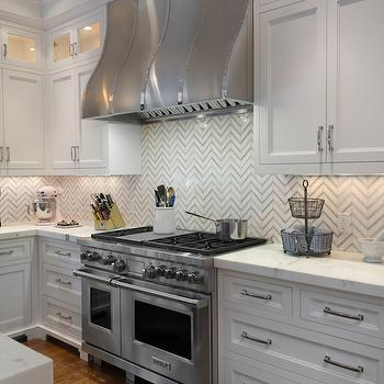 Marble Herringbone Backsplash, Transitional, Kitchen, Blue Water Home Builders