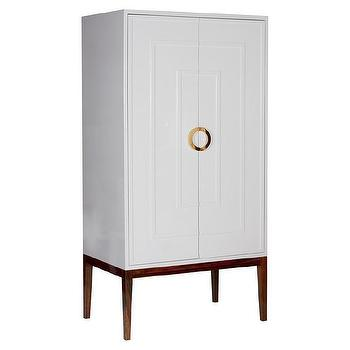 Worlds Away Miles White Lacquer and Brass Armoire I Zinc Door