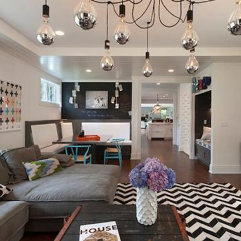 Black and White Herringbone Rug, Contemporary, Living Room, Blue Water Home Builders