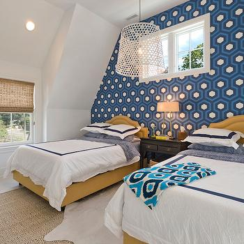 Bedroom with Wallpapered Accent Wall, Transitional, Bedroom, Blue Water Home Builders