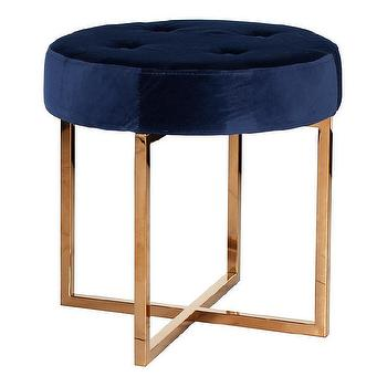 Worlds Away Melanie Navy Velvet and Brass Stool I Zinc Door