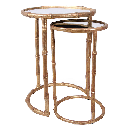 Bliss Studio Cane Antique Gold Nesting Accent Tables Look for Less