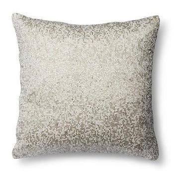 Threshold Decorative Beaded Pillow, Silver I Target