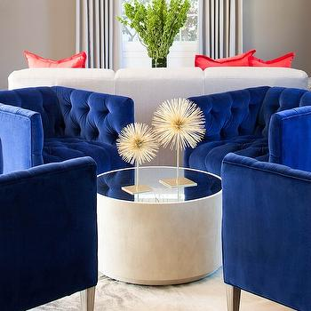 Royal Blue Chairs, Contemporary, living room, Martha O'Hara Interiors
