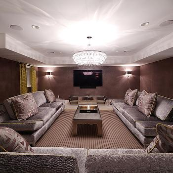 Purple Sofas, Transitional, Basement, Blue Water Home Builders