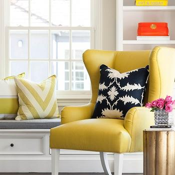 Yellow Wingback Chair, Contemporary, living room, Martha O'Hara Interiors