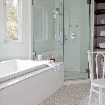 Bathroom with Corner Shower, Transitional, Bathroom, The Cross Decor & Design